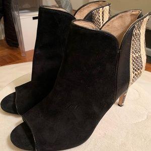 New Black Suede and Snakeskin Peep Toe Booties